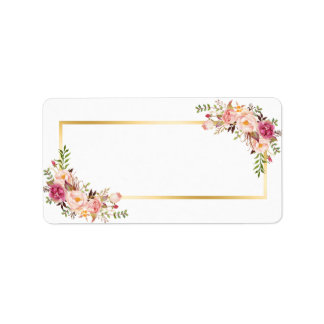 Blank Version- Elegant Chic Gold White Pink Floral Label