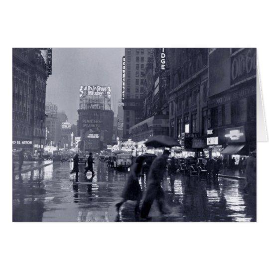 Blank: vintage New York on a rainy night