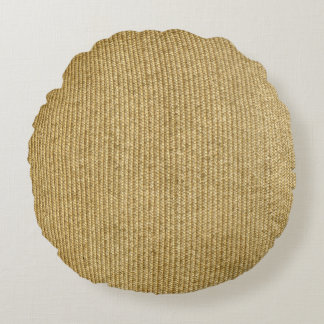 Blank Vintage Wicker Woven Inspired Round Pillow