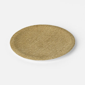 Blank Vintage Wicker Woven Inspired 7 Inch Paper Plate