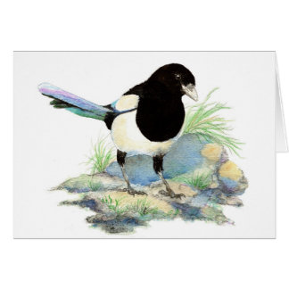 Blank  Watercolor Magpie Garden Bird Card