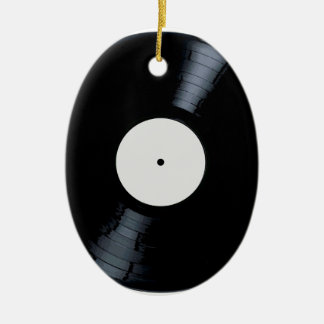 Blank White Record Label Ceramic Oval Decoration
