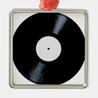 Blank White Record Label Christmas Ornament