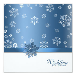 (Blank) Winter Blue & White Snowflake Invites