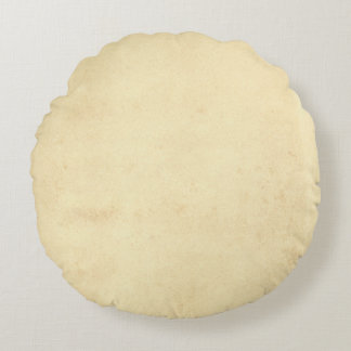 Blank Yellowed Antique Paper Round Pillow
