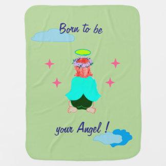 Blanket : Baby blanket with guardian angel design
