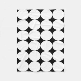 Blanket: Black base, White circles Fleece Blanket