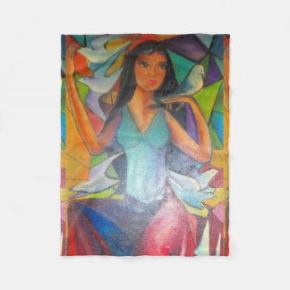 Blanket Colorful Stained Glass Graceful Madonna