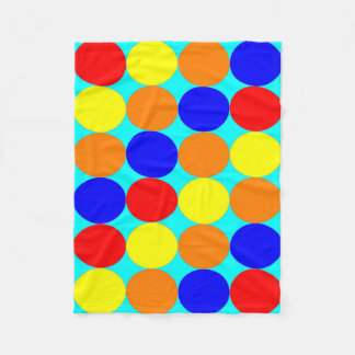 Blanket: Coloured Circles, Cyan Base Fleece Blanket