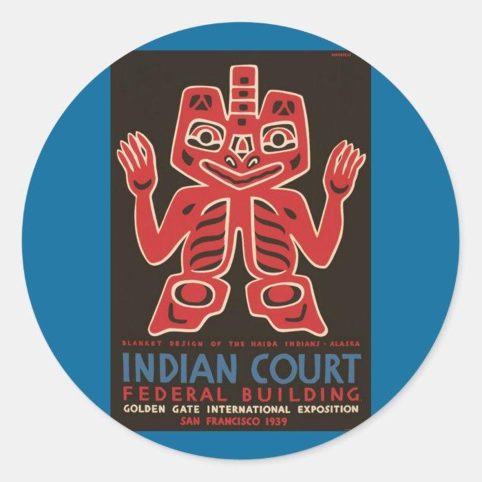 Blanket design of the Haida Indians Round Sticker