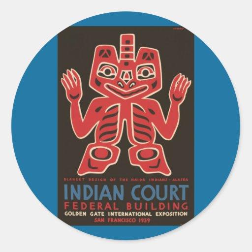 Blanket design of the Haida Indians Classic Round Sticker