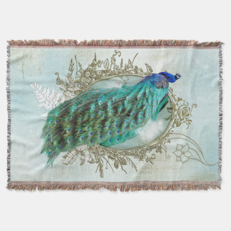 Blanket Turquoise Shabby Peacock vintage