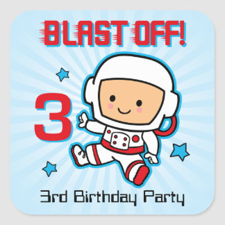 Blast Off 3rd Birthday Sticker