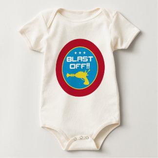 Blast Off!! Retro Science Fiction Space Raygun Baby Bodysuit