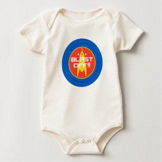 Blast Off!! Retro Science Fiction Space Rocket Baby Bodysuit