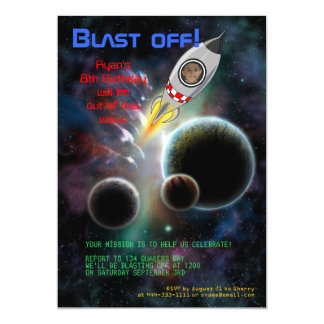 Blast Off! Rocket Birthday Invitation