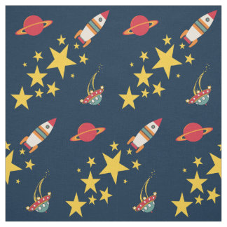 Blast Off Rocket Fabric
