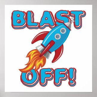 Blast Off Rocket Ship Poster
