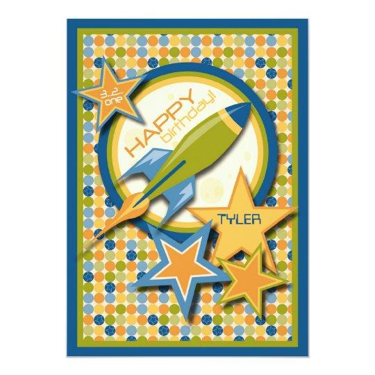 Blast Off! Spaceship Birthday Card