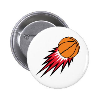 blasting flames basketball 6 cm round badge