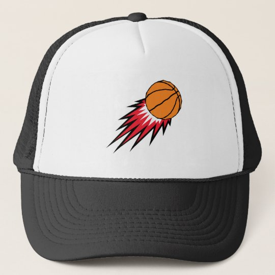 blasting flames basketball trucker hat