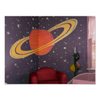 BlastOff! Saturn Mural Print