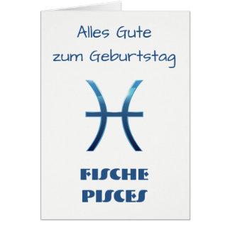 Blau Fische Pisces Zodiac Geburtstag Card