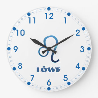 Blau Löwe Leo Zodiac Large Clock