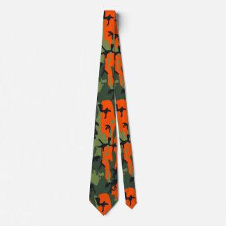Blaze Orange and Green Camo Tie