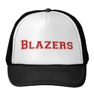 Blazers square logo in red trucker hat