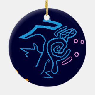 Blazin' Amazing Cosmic Blue Round Ceramic Decoration
