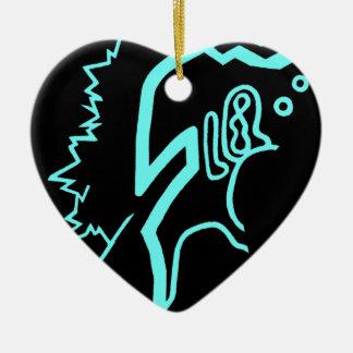 Blazin' Amazing Electric Blue Ceramic Heart Decoration