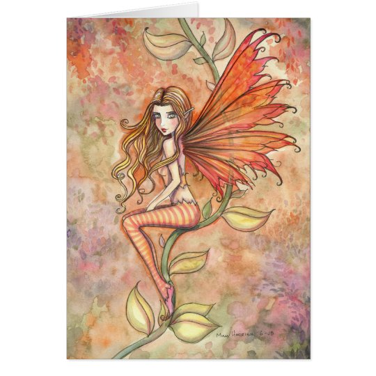 Blazing Autumn Fairy Greeting Card