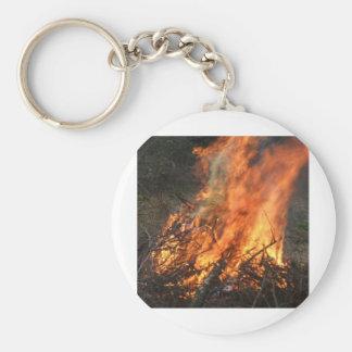 Blazing Bonfire Basic Round Button Key Ring