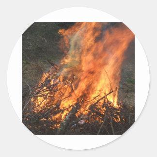 Blazing Bonfire Round Sticker