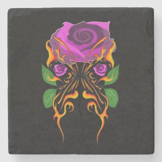 BLAZING BUTTERFLY WITH ROSE MARBLE STONE COASTER