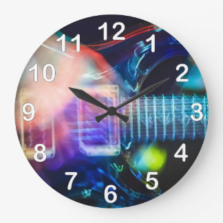 Blazing Electric Guitar Large Clock