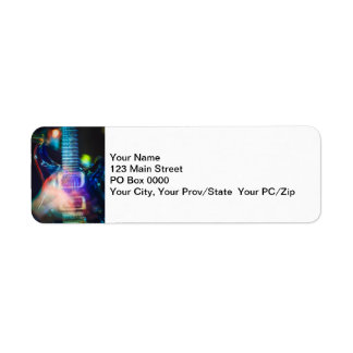 Blazing Electric Guitar Return Address Label