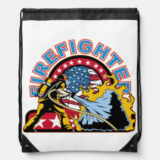 Blazing Firefighter Drawstring Bag