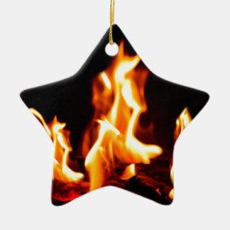 Blazing flames christmas ornament