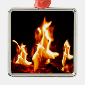 Blazing flames christmas ornament