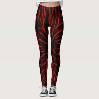 Blazing Red Hot Fire Sparkler Abstract Leggings