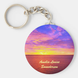 Blazing Sunset Personalized Keychain