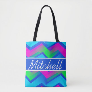 BLB Abstract Zigzag Personalized Tote Bag