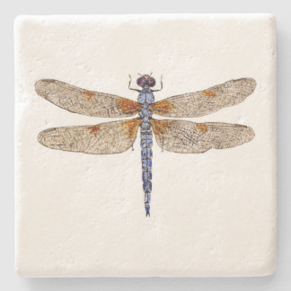 Bleached Skimmer Dragonfly Coaster Stone Beverage Coaster