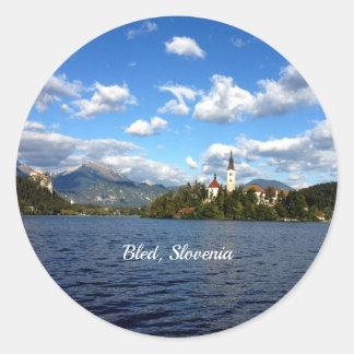 Bled, Slovenia--landscape photograph Classic Round Sticker