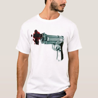 Bleeding Gun thin white and gray striped mens tee
