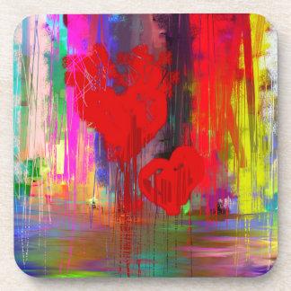 Bleeding Heart Abstract Beverage Coasters