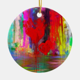 Bleeding Heart Abstract Round Ceramic Decoration