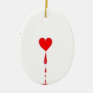 Bleeding Heart Aces Card by Sharles Ceramic Oval Decoration